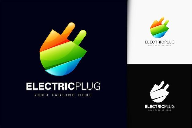 Projeto do logotipo do plugue elétrico com gradiente