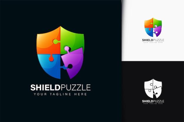Projeto do logotipo do quebra-cabeça escudo com gradiente