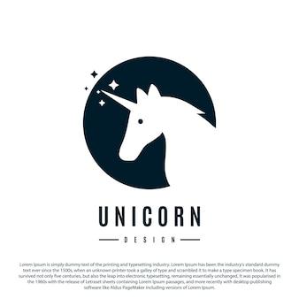 Projeto do logotipo do unicórnio com círculo nas costas ilustração vetorial minimalista