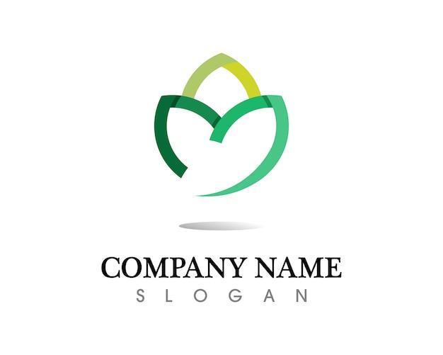 Projeto do logotipo do vetor da folha da árvore, conceito eco-amigável.