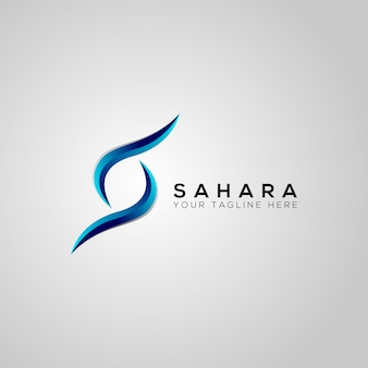 Projeto do logotipo do vetor da letra sahara s