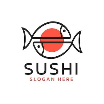 Projeto do logotipo do vetor sushi peixe comida tradicional japonesa