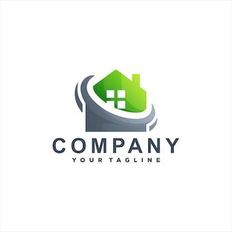 Projeto do logotipo gradiente da casa verde