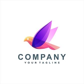 Projeto do logotipo gradiente do logotipo do pássaro