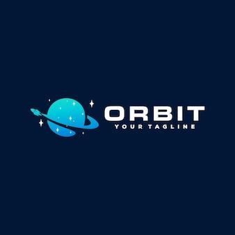 Projeto do logotipo gradiente do planeta orbit