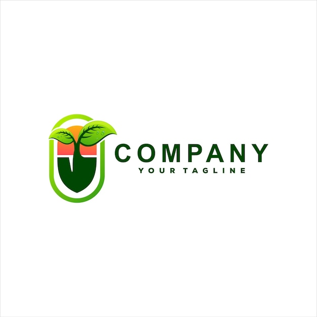 Projeto do logotipo gradiente verde da planta