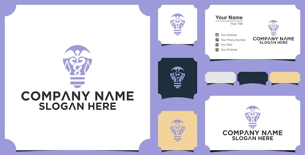 Projeto do logotipo médico da lâmpada bulbo e cartão de visita