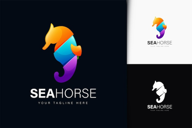 Projeto do logotipo seahorse com gradiente