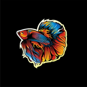 Projeto do mascote do logotipo do peixe betta