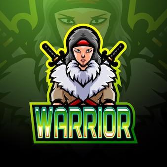 Projeto do mascote do logotipo do warrior e sport