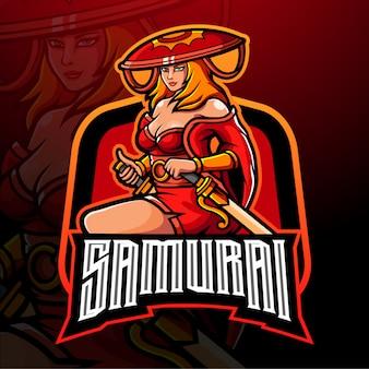 Projeto do mascote do logotipo samurai girls esport.