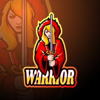 Projeto do mascote do logotipo warrior girl esport