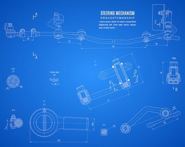 Projeto do mecanismo de direção do plano de fundo azul, projeto de desenho técnico