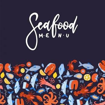 Projeto do menu de frutos do mar para restaurante ou café. modelo plano com decoração padrão e texto de letras de mão desenhada.