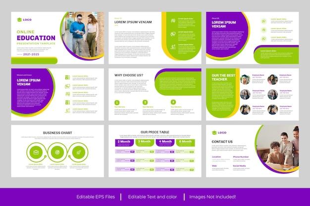 Projeto do modelo de slide de apresentação do powerpoint de educação ou modelo de apresentação de educação roxo