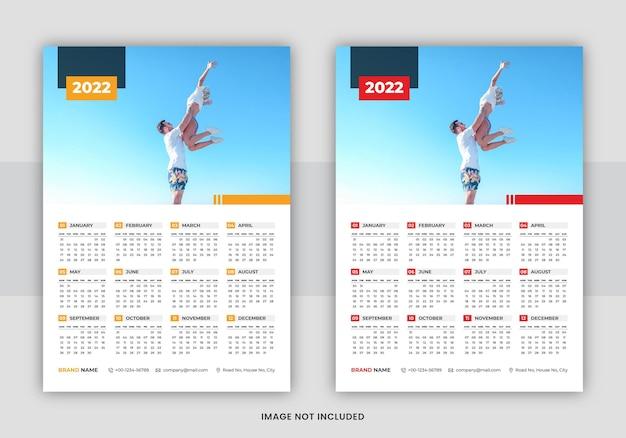 Projeto do modelo do calendário de parede de 2022 página única