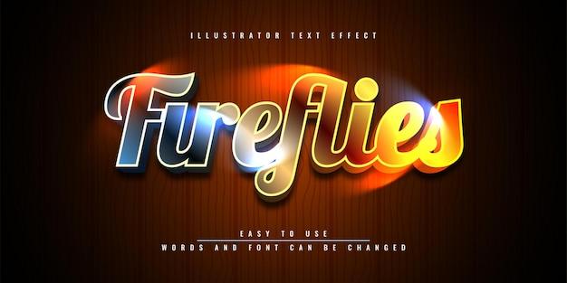 Projeto do modelo do efeito de texto 3d editável do fireflies illustrator