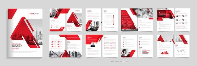 Projeto do modelo do folheto do perfil da empresa vetor premium de várias páginas