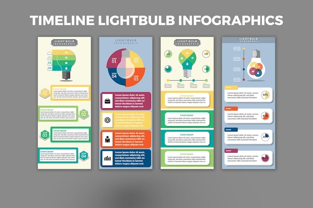 Projeto do modelo do infográfico da lâmpada da linha do tempo