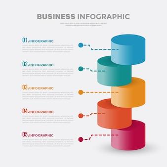 Projeto do modelo do infográfico de negócios em 3d de 5 etapas