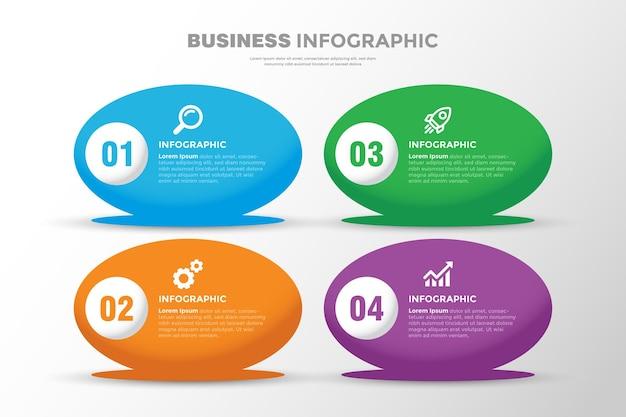 Projeto do modelo do infográfico de negócios oval em 3d de 4 etapas