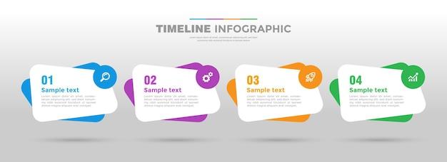 Projeto do modelo do infográfico plano de 4 etapas para negócios