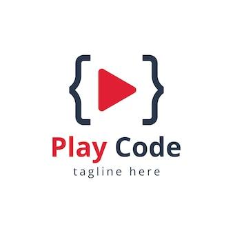 Projeto do modelo do logotipo da empresa de software de código de reprodução de vídeo. ilustração vetorial.