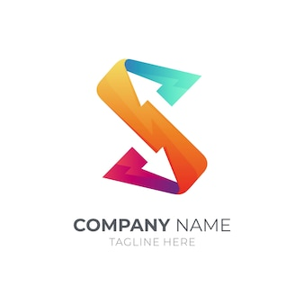 Projeto do modelo do logotipo da letra s da seta isolado