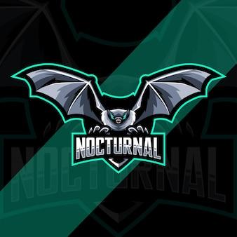 Projeto do modelo do logotipo da mascote do pássaro morcego noturno e esport