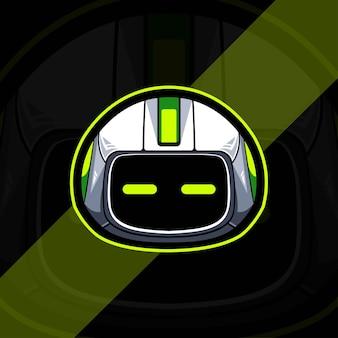 Projeto do modelo do logotipo do mascote do ciborgue principal e esportes