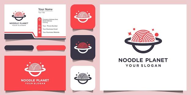 Projeto do modelo do logotipo do planeta do macarrão. conjunto de logotipo e design de cartão de visita