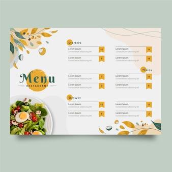 Projeto do modelo do menu desenhado à mão
