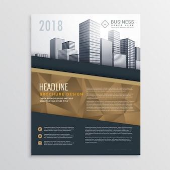 Projeto do molde do folheto panfleto imobiliário com edifícios da cidade