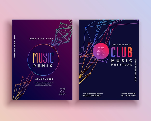 Projeto do molde do insecto do partido da música do clube Vetor Premium