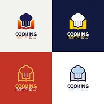 Projeto do molde do logotipo do livro da receita no projeto do vetor do estilo do esboço.