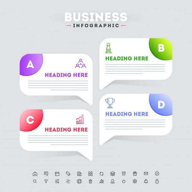 Projeto do molde do negócio infographic do espaço temporal de quatro etapas