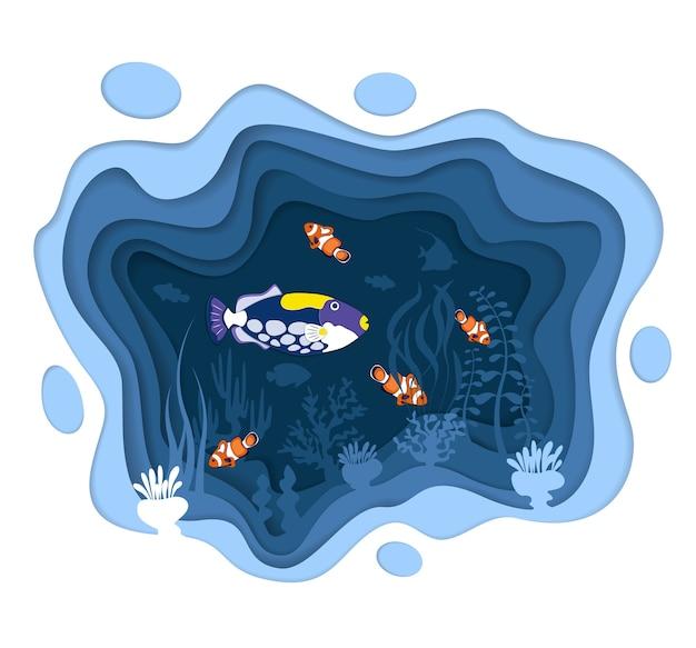 Projeto do mundo subaquático com peixes de recife de coral no estilo de corte de papel. aquário exótico. vida marinha de um azul profundo, negócios de mergulho. vida selvagem subaquática do oceano. fauna de coral aquático caribenho
