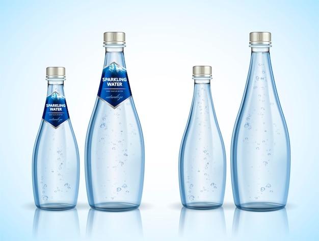 Projeto do pacote de água com gás com bolhas na ilustração 3d, naturaleza é a palavra spaninsh que significa natureza