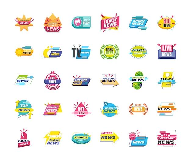 Projeto do pacote de ícones de banners e rótulos de notícias, comunicação do canal de tecnologia e ilustração do tema da tv