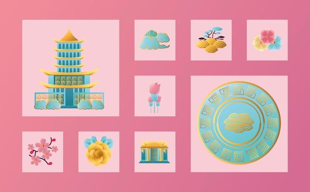 Projeto do pacote de ícones do ano novo chinês 2021, ilustração vetorial do tema da cultura e celebração da china