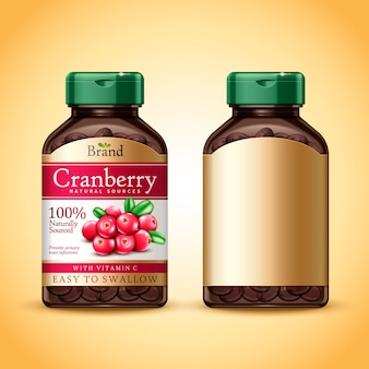 Projeto do pacote de suplemento dietético de cranberry fundo dourado isolado