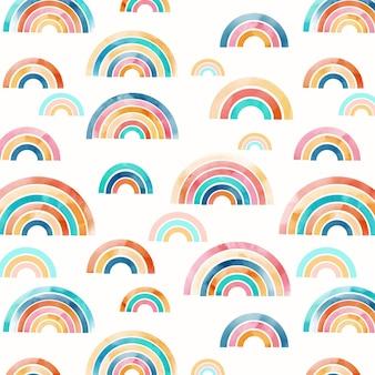 Projeto do padrão do arco-íris em aquarela pintado à mão