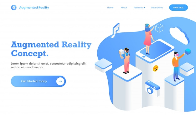Projeto do página da web do conceito de realidade aumentada com o usuário que usa os meios sociais virtuais app na plataforma diferente, ilustração 3d.