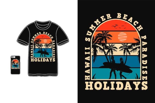 Projeto do paraíso de verão no havaí para silhueta de camiseta estilo retro