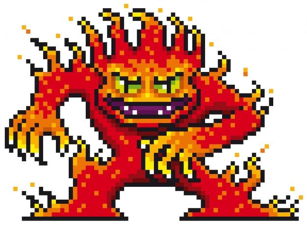 Projeto do pixel do monstro dos desenhos animados do fogo