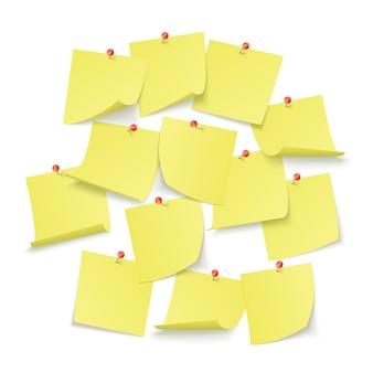 Projeto do quadro de lembretes com adesivos amarelos vazios presos com alfinetes vermelhos