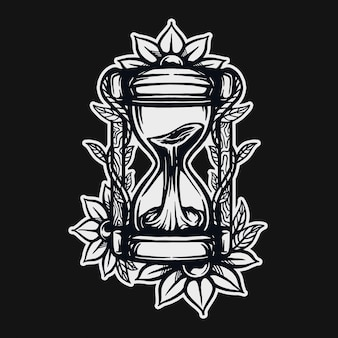 Projeto do t-shirt da ampulheta