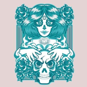Projeto do t-shirt da menina do crânio