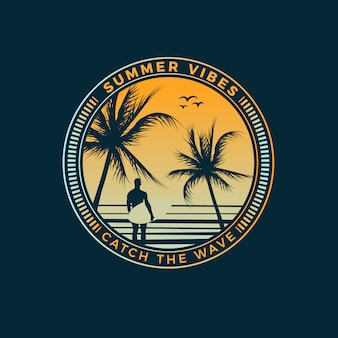 Projeto do t-shirt das vibrações do verão
