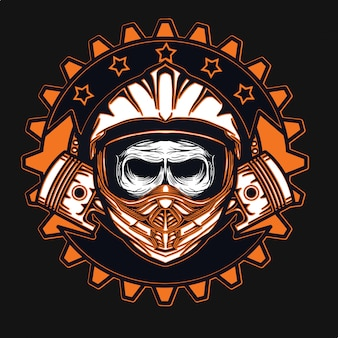 Projeto do t-shirt do motocross do piloto